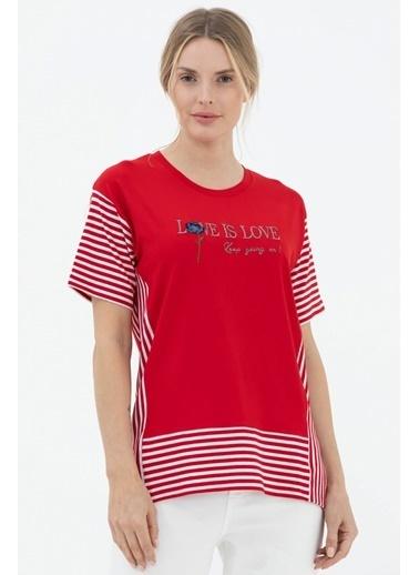 Sementa Çizgi Kombinli Nakış Detaylı Tshirt - Kırmızı Kırmızı